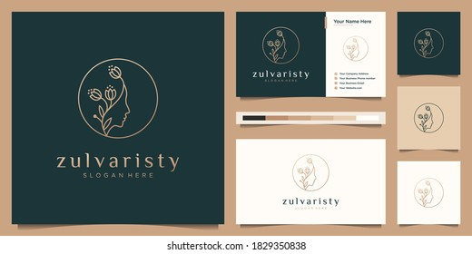 Beauty woman's face flower with line art style logo and business card design. feminine design concept for beauty salon, massage, magazine, cosmetic and spa.