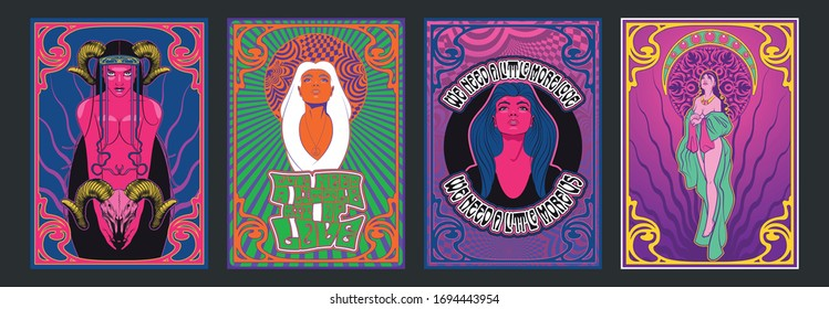 Beauty Women Art Nouveau Style Psychedelic Art 1960s, 1970s Rock Music Posters Stylization