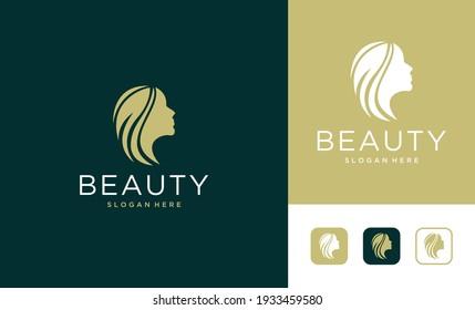 beauty women face elegant logo design