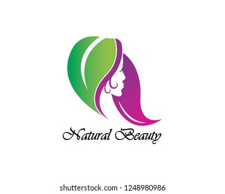 Beauty Women nature hair with eco green leave Logo Template