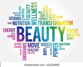 BEAUTY word cloud, fitness, sport, health concept