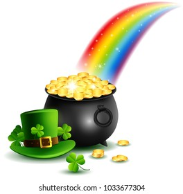 beautyful St.Patrick's Day Background with rainbow . Vector illustration