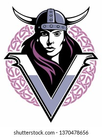 Beautyful woman's face with the horny knight's helmet and celtic ornament on background. Warrior woman vector logo.