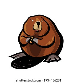 Beaver animal - isolated outlined vector illustration