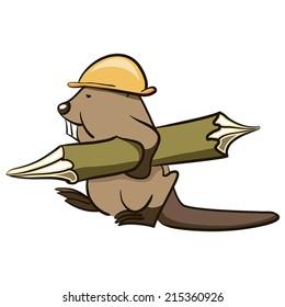 Beaver Builder carries a wooden log