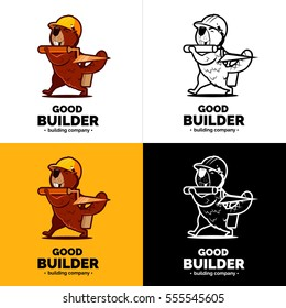 Beaver builder character logo. Trowel on hand. Color and black white logo.