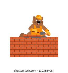 Beaver builder holds trowel and laying a brick wall.  Vector illustration cartoon character beaver isolated on white background.