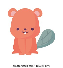 beaver cartoon design, Kawaii expression cute character funny and emoticon theme Vector illustration