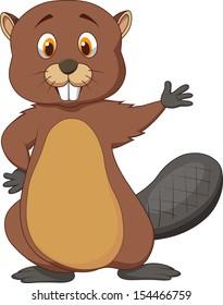 Beaver cartoon waving hand