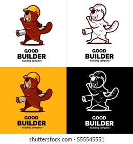 Beaver character with paper plan on hand. Color and black white logo.