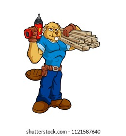 Beaver Construction Worker with Wood Beam Cartoon Illustration