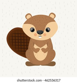 beaver cute wildlife icon vector isolated graphic