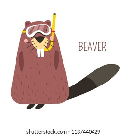 Beaver in diving mask cartoon childish character