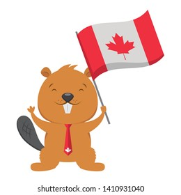 beaver with flag happy canada day vector illustration
