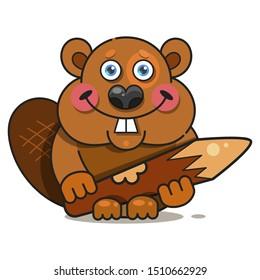 Beaver In Flat Style. Symbol, Logo Illustration. Smile Icon
