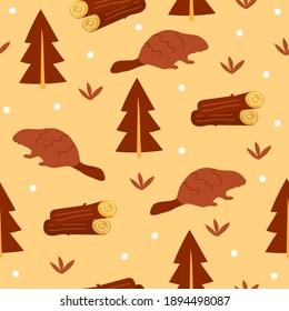 Beaver hand drawn illustration. Cute cartoon animal character - seamless pattern