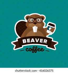 Beaver Hipster Coffee to go logo template