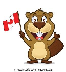 Beaver holding canadian flag