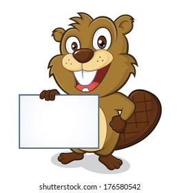 Beaver holding sign