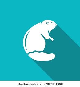 Beaver icon. Canada Animal Profile. Vector Illustration.