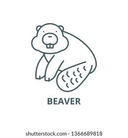 Beaver line icon, vector. Beaver outline sign, concept symbol, flat illustration