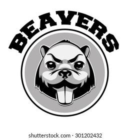 Beaver logo black and white retro syled head