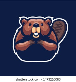 Beaver Mascot Logo for sport and esport isolated on dark Blue background