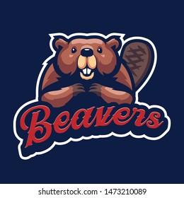 Beaver Mascot Logo for sport and esport isolated on dark Blue background
