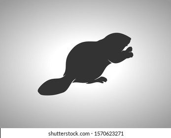 Beaver Silhouette on White Background. Isolated Vector Animal