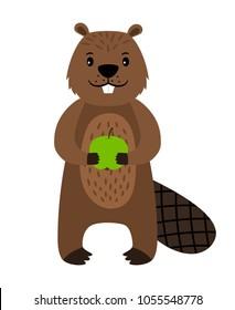 Beaver. Vector cartoon beaver character isolated on white background