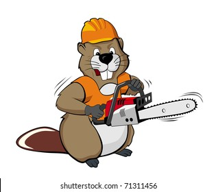 Beaver wearing helmet and holding chain saw (vector illustration)