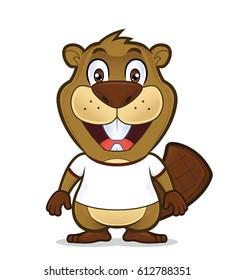 Beaver wearing a white t shirt