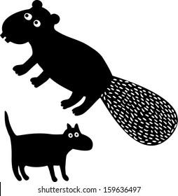 Beaver&dog. Hand drawn illustration.