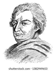 Beccaria, 1738-1794, he was an Italian philosopher, politician and jurist, famous for his treatise on crimes and punishments which condemned torture and the death penalty, vintage line drawing