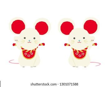 Beckoning mouse  and Japanese New Year Kadomatsu background