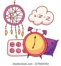 A bed, a blindfold, pills, insomnia, dream catcher, pillow an alarm clock. Rest and sleep set collection icons in cartoon style. Vector illustration.
