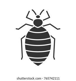 Bed bug glyph icon. Human parasite. Silhouette symbol. Negative space. Vector isolated illustration