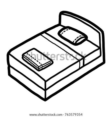 Bed Cartoon Vector Illustration Black White Stock Vector Royalty