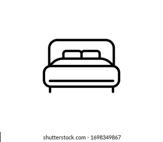 Bed flat icon. Thin line signs of bone for design logo, visit card, etc. Single high-quality outline symbol for web design or mobile app. Bed outline pictogram.