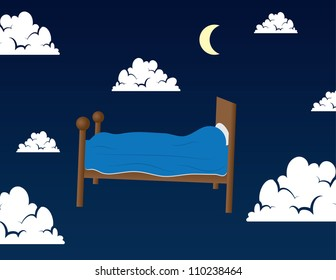 Bed floating in the clouds in someone's dream