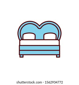 bed with heart shape romantic passion love flat line vector illustration