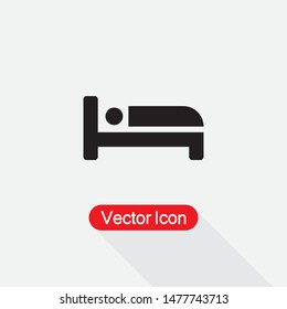 Bed Icon, Hotel Symbol, Hostel Symbol Vector Illudtration Eps10
