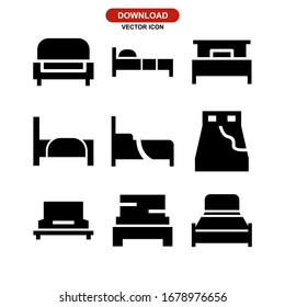 bed icon or logo isolated sign symbol vector illustration - Collection of high quality black style vector icons