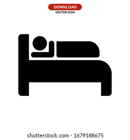 bed icon or logo isolated sign symbol vector illustration - high quality black style vector icons