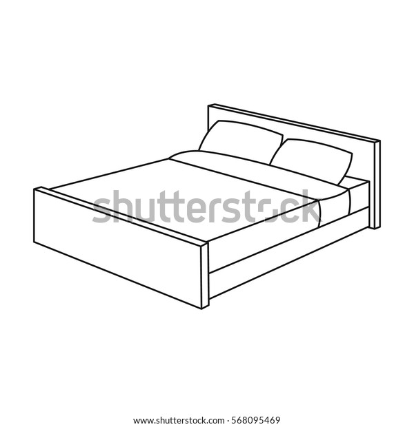 Bed icon in outline style isolated on white background. Sleep and rest symbol stock vector illustration.