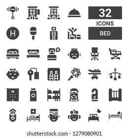 bed icon set. Collection of 32 filled bed icons included Bed, Baby, Bellboy, Medical bed, Cradle, Door hanger, Checker, Bunk, Baby powder, Hotel, Cot, Stretcher, Rattle, Minibar