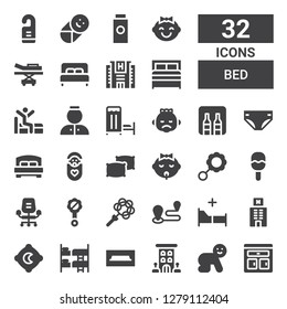 bed icon set. Collection of 32 filled bed icons included Furniture, Baby, Hotel, Tv table, Bunk, Pillow, Bed, Travel, Rattle, Desk chair, Pillows, Diaper, Minibar, Medical room