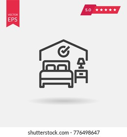 Bed Icon Vector. Hotel, hostel, motel, hospital sign isolated on white background. Flat design style.