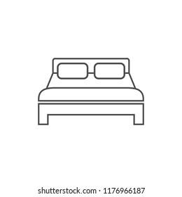 Bed icon. Vector illustration, flat design.