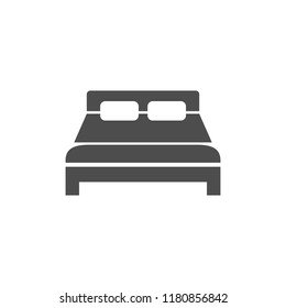 Bed icon. Vector illustration, flat design.